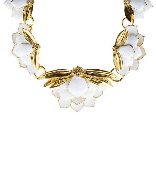 Oscar de la Renta - Metallic Painted Wild Lotus Necklace - Lyst