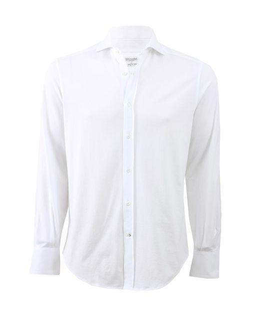 Brunello Cucinelli - White Slim-fit Cotton Button-down Shirt for Men - Lyst
