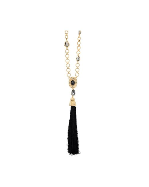 Oscar de la Renta - Black Crystal & Resin Tassel Necklace - Lyst