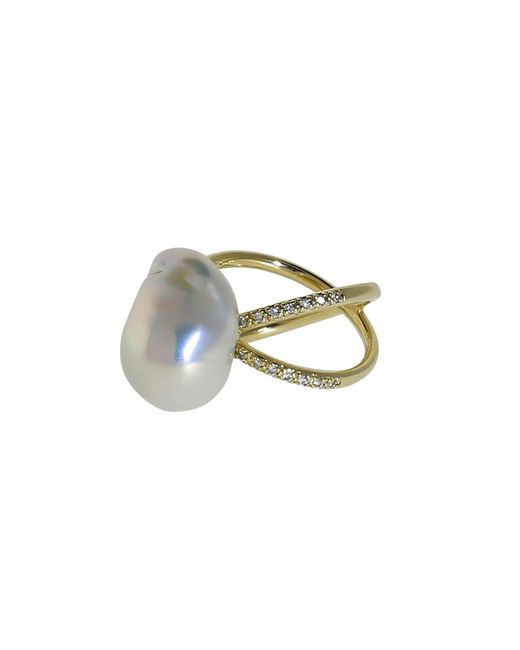 Mizuki | Metallic Freshwater Pearl And Diamond Crossover Ring | Lyst