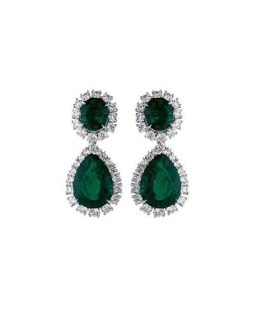 Fantasia Jewelry - Green Cubic Zirconia Oval Drop Earrings - Lyst