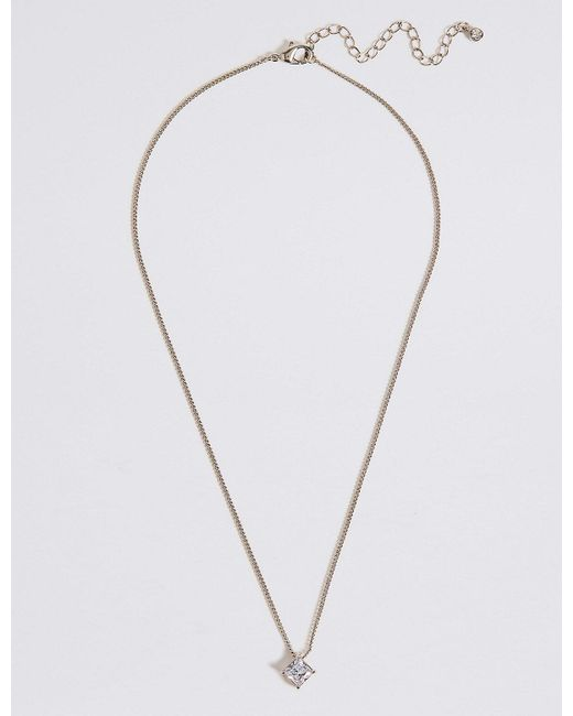 Marks & Spencer - Metallic Platinum Plated Princess Cut Pendant Necklace - Lyst