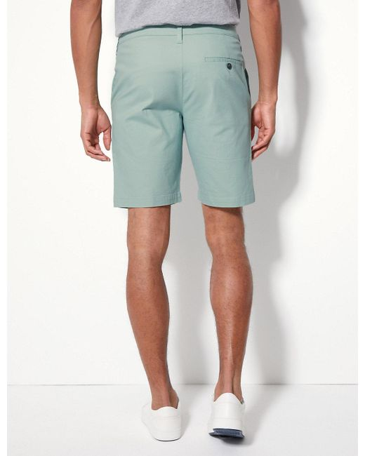 5a7ab2a7ec0 ... Marks   Spencer - Green Cotton Rich Chino Shorts With Stretch for Men -  Lyst