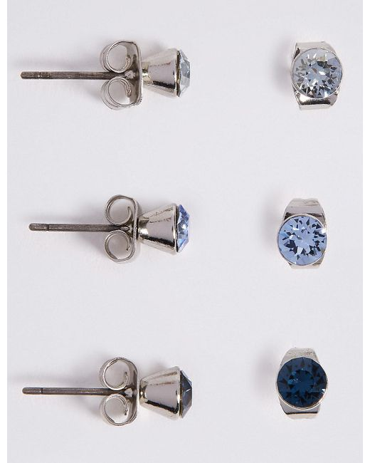 Marks & Spencer - Blue 3 Pack Earrings With Swarovski® Crystals - Lyst