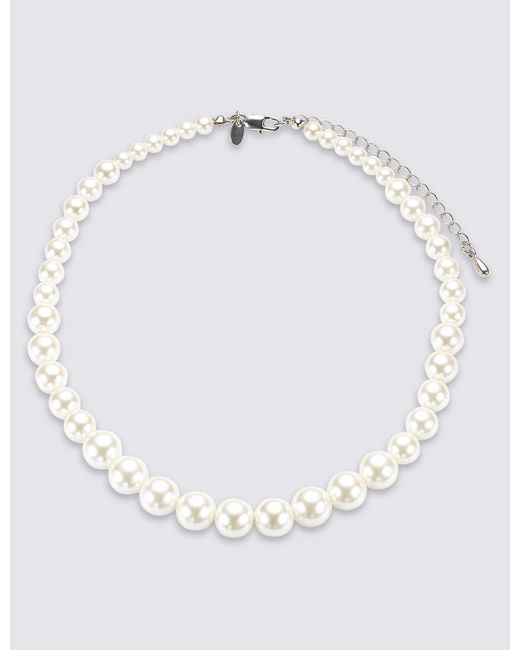 Marks & Spencer   White Pearl Effect Graduated Collar Necklace   Lyst