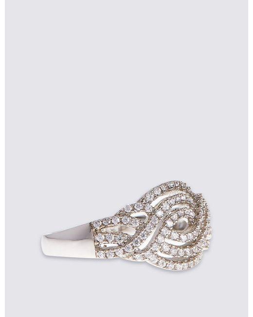 Marks & Spencer - Metallic Platinum Plated Vintage Swirl Diamanté Ring - Lyst