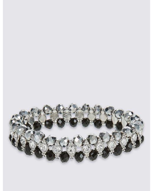 Marks & Spencer   Metallic Diamanté Glamour Rows Bracelet   Lyst