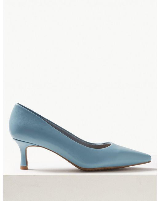 d33163d5232 Marks   Spencer - Blue Wide Fit Kitten Heel Court Shoes - Lyst ...