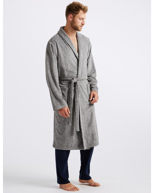 b23594c50a Lyst - Marks   Spencer Supersoft Fleece Dressing Gown in Gray for Men