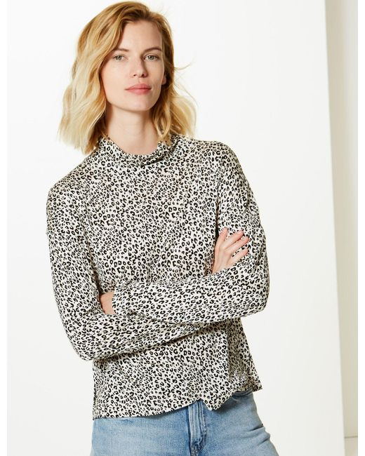 46067404a2033c ... Lyst Marks & Spencer - Multicolor Animal Print Funnel Neck Long Sleeve  Top ...