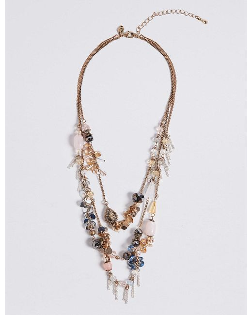 Marks & Spencer | Metallic Cluster Row Necklace | Lyst