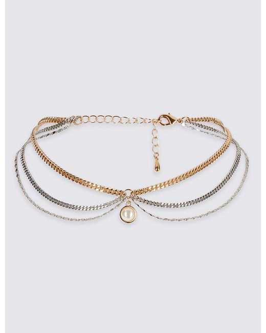 Marks & Spencer | Metallic Pearl Choker Necklace | Lyst