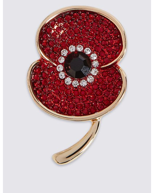 Marks & Spencer   Red Sparkle Poppy Brooch   Lyst