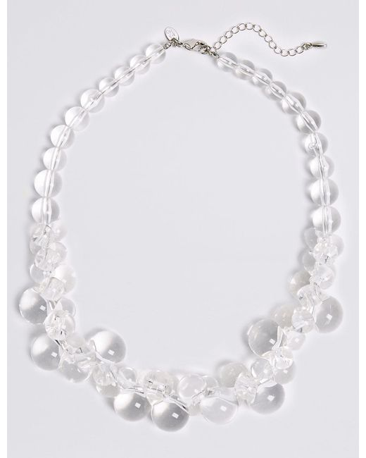 Marks & Spencer - White Clear Ball Collar Necklace - Lyst