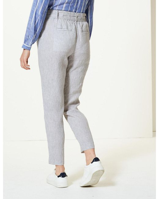 02a0c2f1b2 ... Marks   Spencer - Multicolor Pure Linen Ankle Grazer Peg Trousers ...