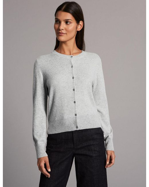 Marks & spencer Pure Cashmere Button Through Cardigan in Gray | Lyst
