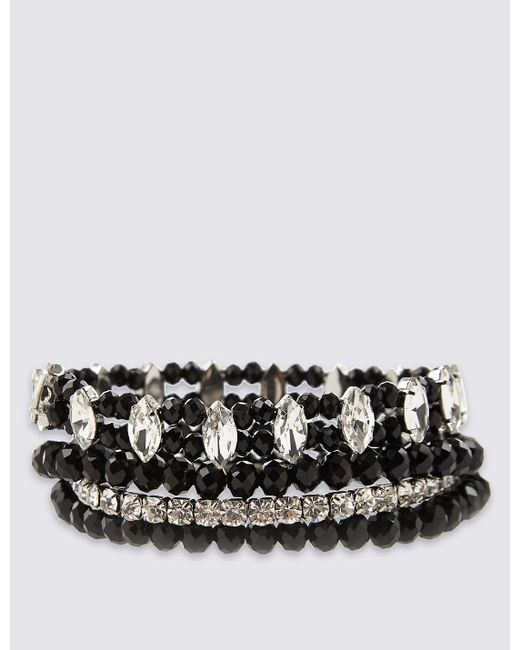 Marks & Spencer | Black Diamanté Multi-strand Sparkle Stretch Bracelet | Lyst