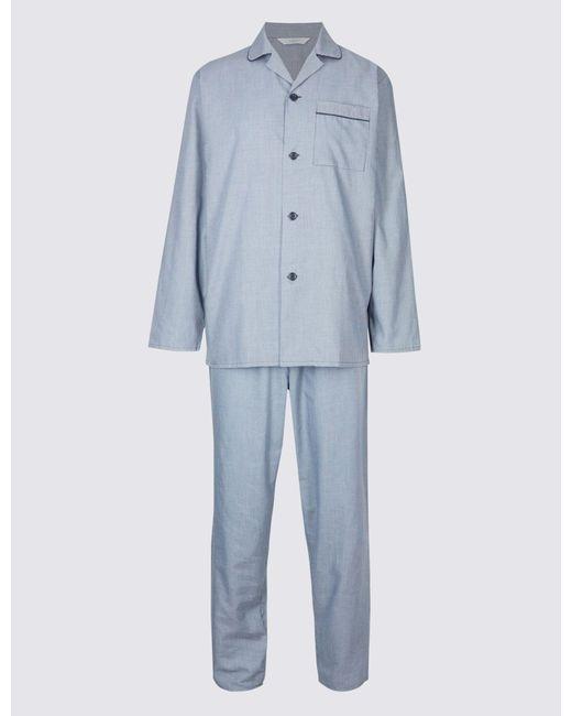 5f49ec6eb Marks & Spencer Cotton Blend Textured Pyjamas in Blue for Men - Lyst