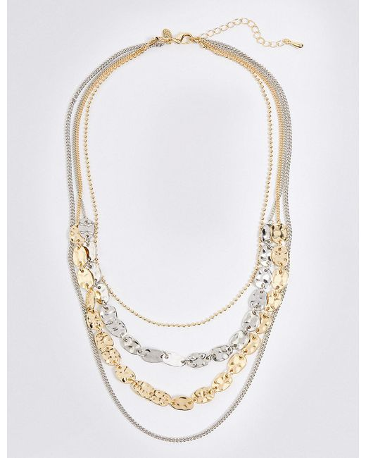 Marks & Spencer | Metallic Dented Shapes Layered Necklace | Lyst