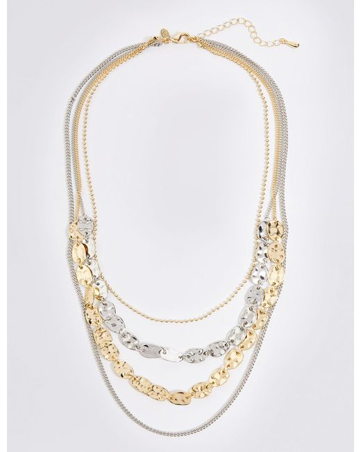 Marks & Spencer - Metallic Dented Shapes Layered Necklace - Lyst