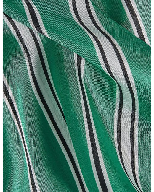 Marks & Spencer - Green Pure Silk Striped Scarf - Lyst