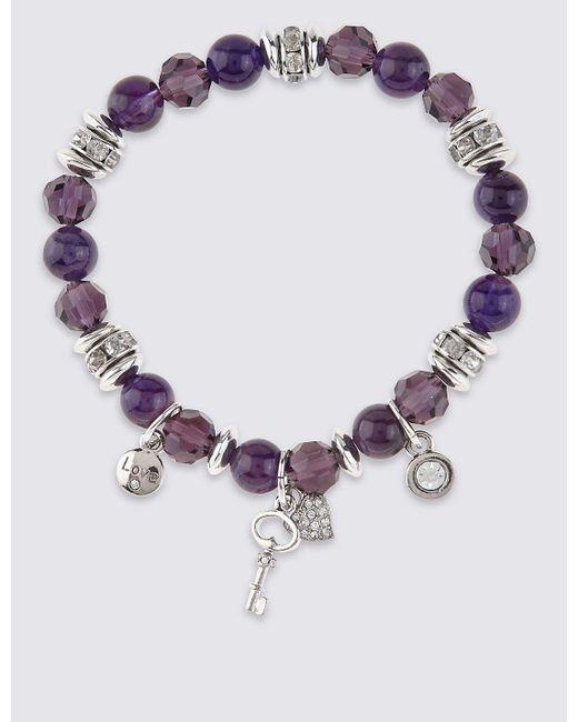 Marks & Spencer | Multicolor Diamanté Charm Stretch Bracelet | Lyst
