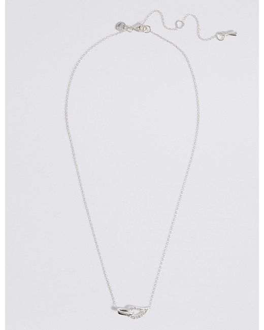 Marks & Spencer - Metallic Sterling Silver Interlocking Pave Necklace - Lyst