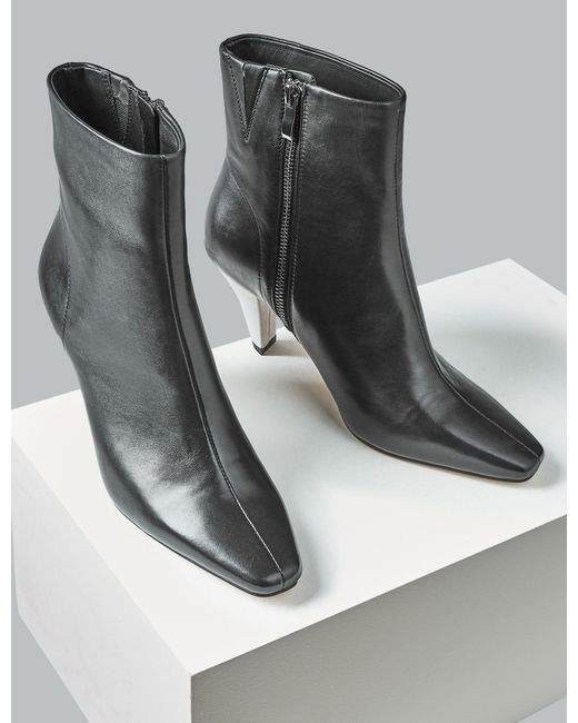 9bc79c83be1f7 ... Lyst Marks & Spencer - Black Leather Kitten Heel Square Toe Ankle Boots  ...