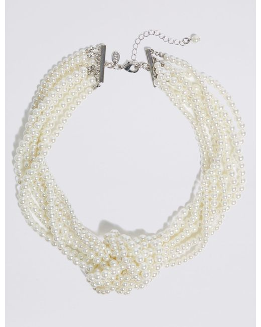 Marks & Spencer - White Knot Pearl Necklace - Lyst