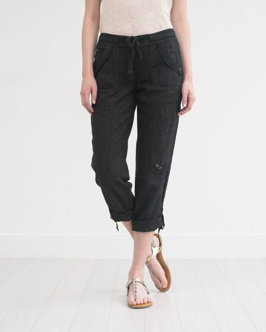 Marrakech | Black Ali Roll-up Linen Utility Pant | Lyst
