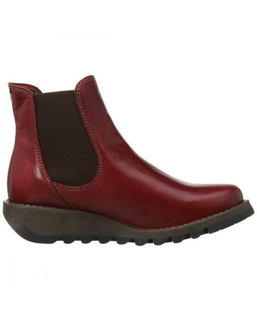 Fly London - Salv Red Leather Wedge Chelsea Boots - Lyst
