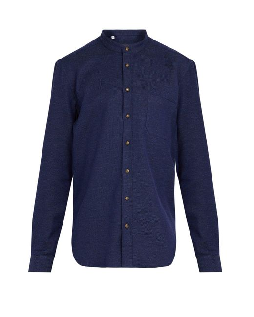 Thom Sweeney - Blue Nehru Collarless Woven Cotton Shirt for Men - Lyst