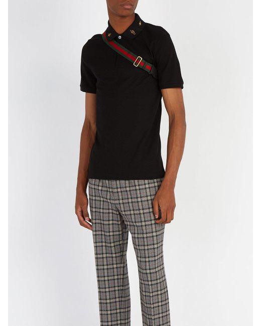 f0967e5bae9 ... Gucci - Black Embroidered Collar Stretch Cotton Polo Shirt for Men -  Lyst ...
