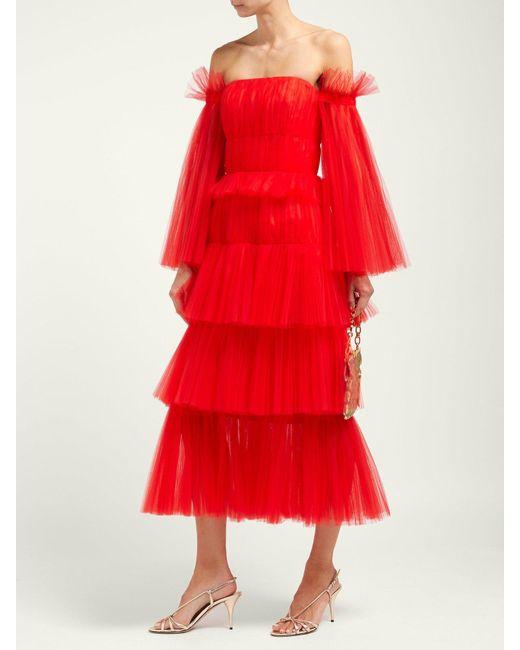 e73122adb3d ... Carolina Herrera - Off The Shoulder Tiered Tulle Midi Dress - Lyst ...