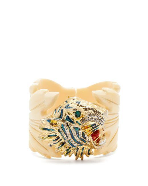 Gucci - Multicolor Crystal Embellished Tiger Head And Leaf Cuff - Lyst