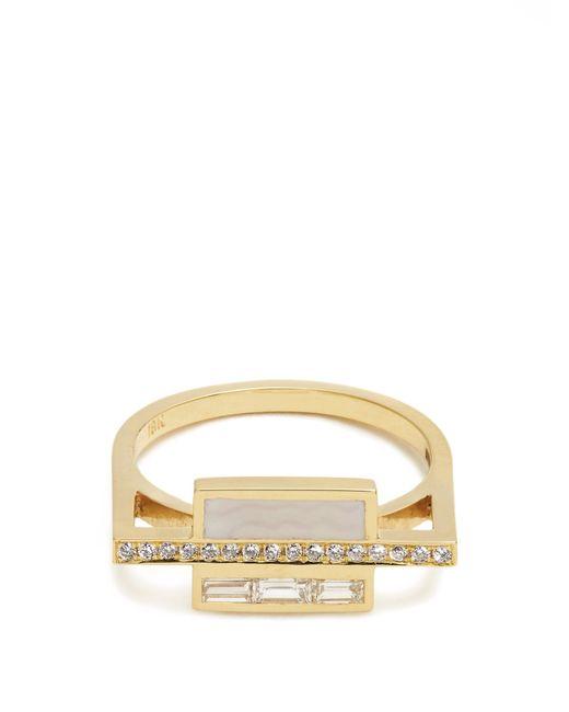 Azlee   Multicolor White Light Diamond, Enamel & Yellow-gold Ring   Lyst