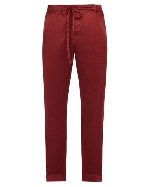 Meng - Red Wide-leg Silk-satin Pyjama Trousers for Men - Lyst
