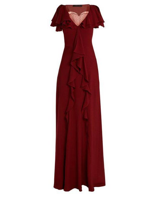 Elie Saab - Red Lace-insert Ruffled Silk-blend Gown - Lyst