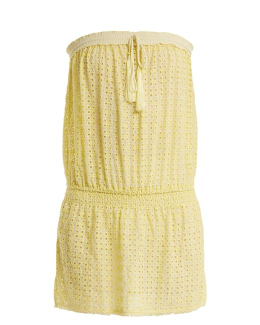 Melissa Odabash - Yellow Adela Strapless Broderie-anglaise Dress - Lyst