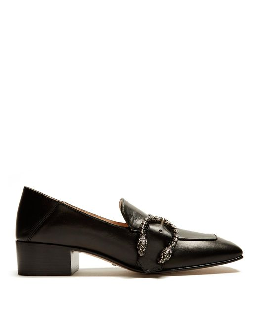 Gucci | Black Dionysus-buckle Leather Loafers | Lyst
