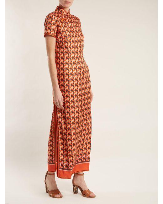 Eutenea Printed Silk-twill Midi Dress - Orange F.R.S. For Restless Sleepers bfr7r8awp1