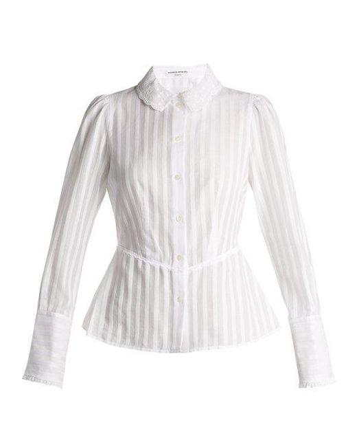 Sonia Rykiel - White Broderie-anglaise Collar Striped Cotton Blouse - Lyst