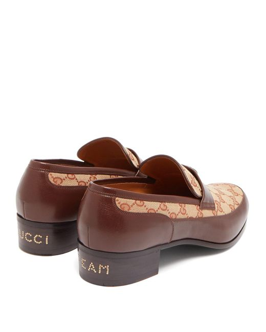 392d2296f91 ... Gucci - Brown 30mm High Looms Gg Supreme Loafers for Men - Lyst ...