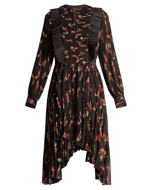 Isabel Marant - Black Wesley Floral-print Pleated Dress - Lyst