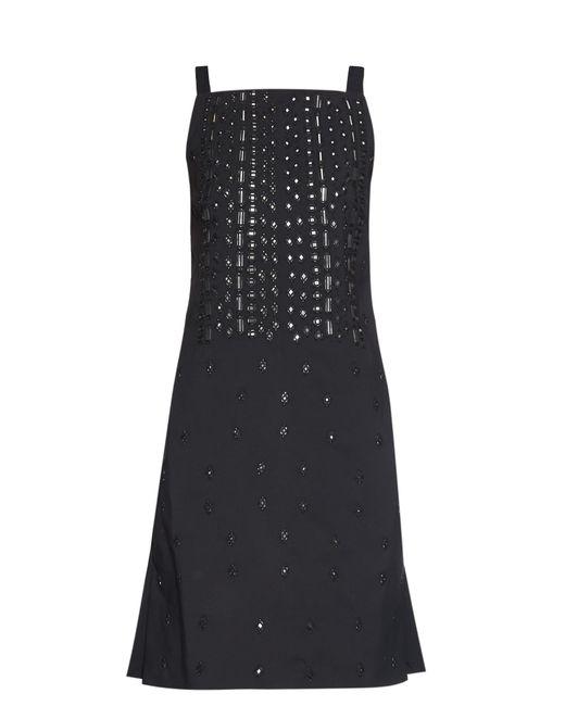 OSMAN | Black Embellished Square-neck Dress | Lyst