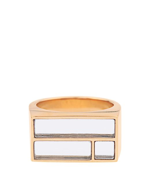 Aurelie Bidermann | Metallic Bianca Yellow Gold-plated Mirror Ring | Lyst