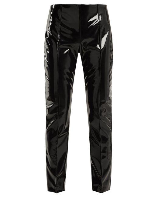 Valentino - Black Slim Leg Vinyl Trousers - Lyst