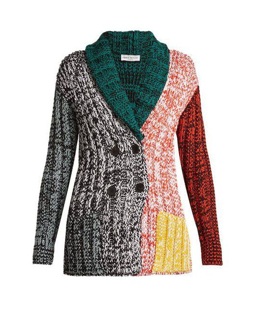 Sonia Rykiel - Multicolor Contrast-panel Chunky-knit Cardigan - Lyst