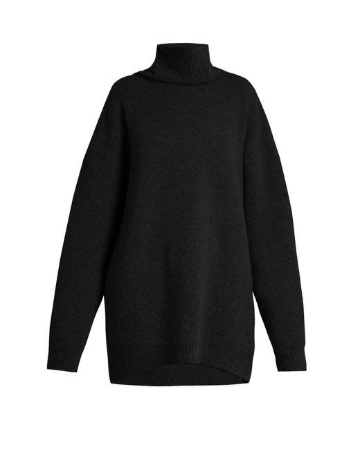 Raey Black Displaced Sleeve Roll Neck Wool Sweater