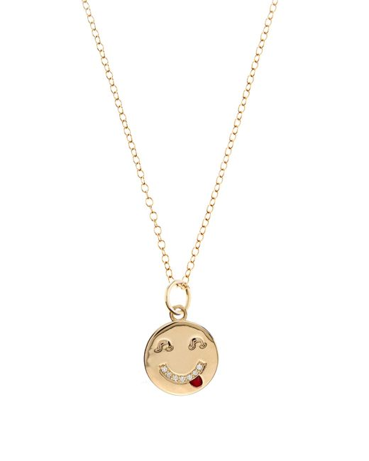 Alison Lou | Diamond & Yellow-gold Tongue Out Face Necklace | Lyst